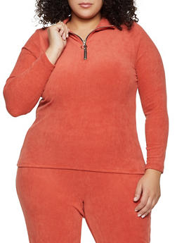 Plus Size Corduroy Zip Neck Top - 1951038347780