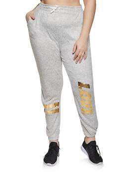 Plus Size Love Foil Knit Joggers - 1951038347891