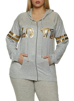 Plus Size Foiled Love Graphic Sweatshirt - 1951038347910
