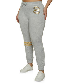Plus Size Love Graphic Knit Joggers - 1951038347911