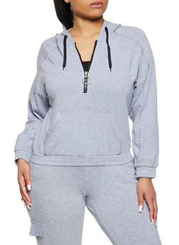 Plus Size O Ring Zip Sweatshirt - 1951038348020