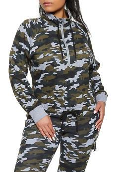 Plus Size Zip Neck Pullover Sweatshirt - 1951038348030