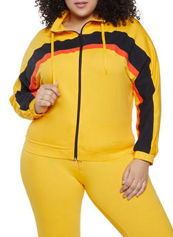 Plus Size Color Block Detail Zip Sweatshirt - 1951038348050