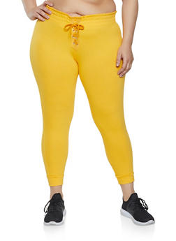 Plus Size Lace Up Joggers - 1951038348051