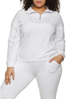 Plus Size Contrast Stitch Sweatshirt - 1951038348120