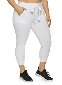 Plus Size Tie Waist Tapered Pants - 1951038348121