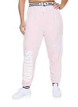 Plus Size Flawless Graphic Velour Sweatpants - 1951038348500