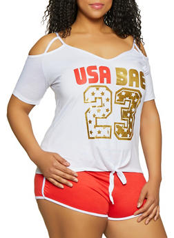 Plus Size USA Bae Cold Shoulder Top - 1951038348632