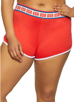 Plus Size USA Graphic Waistband Dolphin Shorts - 1951038348633