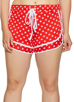 Plus Size Star Print Shorts - 1951038348635