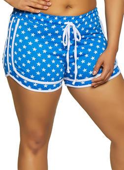 Plus Size Star Print Shorts - 1951038348635