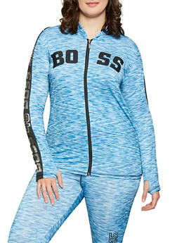 Plus Size Boss Graphic Activewear Sweatshirt - Blue - Size 1X - 1951038349909