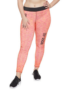 Plus Size Boss Graphic Activewear Leggings - 1951038349910