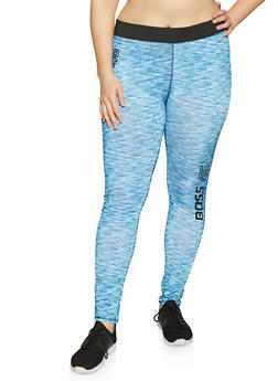 Plus Size Boss Graphic Activewear Leggings - Blue - Size 1X - 1951038349910
