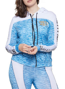 Plus Size Pretty Hurts Active Hooded Top - Blue - Size 2X - 1951038349913