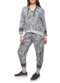 Plus Size Camo Print Zip Sweatshirt - GRAY - 1951051060028