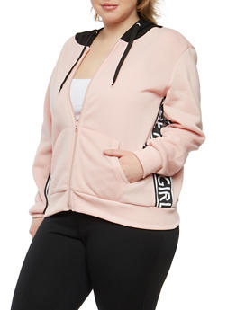 Plus Size Graphic Side Hooded Zip Up Sweatshirt - 1951051060030