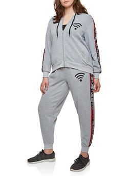 Plus Size Online Offline Graphic Sweatshirt - 1951051060048