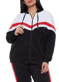 Plus Size Stripe Detail Color Block Sweatshirt - 1951051060061