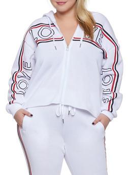 Plus Size Love Graphic Raw Hem Sweatshirt - 1951051060084