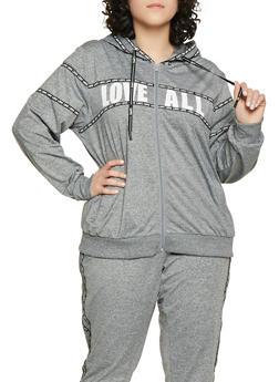 Plus Size Love All Zip Up Sweatshirt - 1951051060087