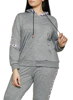 Plus Size Marled Love Tape Sweatshirt - 1951051060088