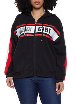 Plus Size Zip Up Hoodie Graphic