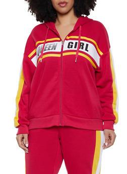 Plus Size Queen Girl Zip Up Sweatshirt - 1951051060093