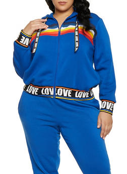 Plus Size Rainbow Detail Zip Front Sweatshirt - 1951051060095