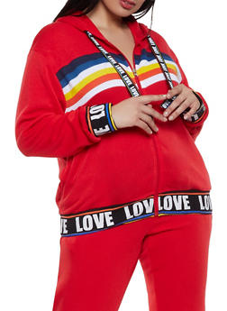 Plus Size Rainbow Detail Zip Front Sweatshirt - 1951051060095