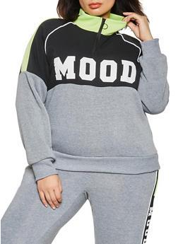 Plus Size Mood Graphic Zip Neck Pullover Sweatshirt - 1951051060414