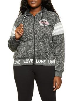 Plus Size Love Graphic Trim Sweatshirt - 1951051060927