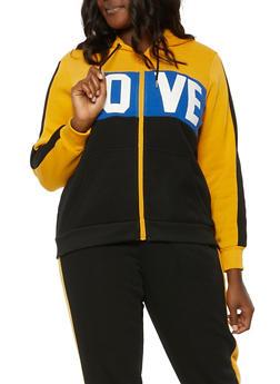 Plus Size Love Color Blocked Hooded Sweatshirt - 1951051061570