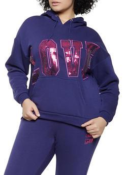 Plus Size Sequin Love Sweatshirt - 1951051061790