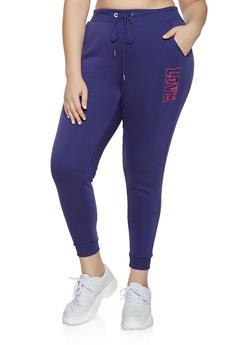Plus Size Sequin Love Joggers - 1951051061791