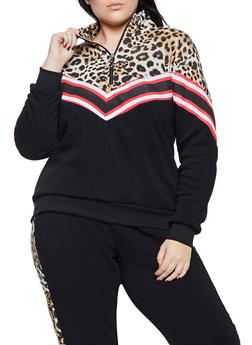 Plus Size Chevron Zip Neck Sweatshirt - BLK PTN - 1951051061980