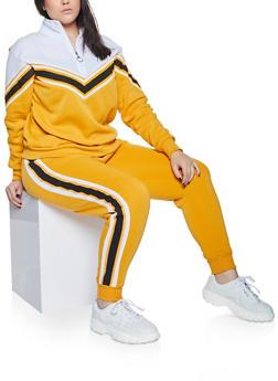Plus Size Chevron Zip Neck Sweatshirt - 1951051061980