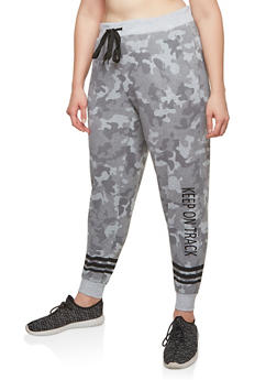 Plus Size Fleece Camouflage Sweatpants - GRAY - 1951051063756