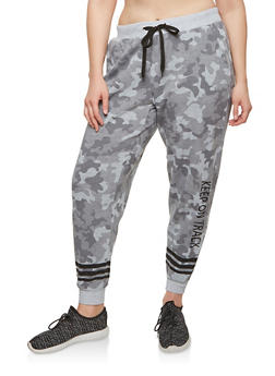 Plus Size Fleece Camouflage Sweatpants - SAGE - 1951051063756