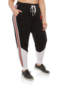 Plus Size Star Graphic Sweatpants - 1951051063757