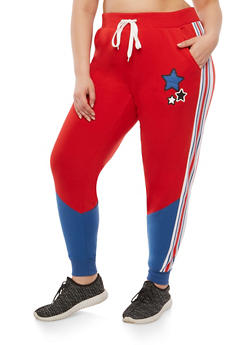 Plus Size Star Graphic Sweatpants - 1951051063757