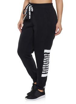 Plus Size Black and Proud Graphic Sweatpants - 1951051064051