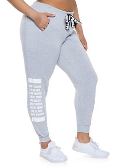 Plus Size Black and Proud Graphic Sweatpants - 1951051064051