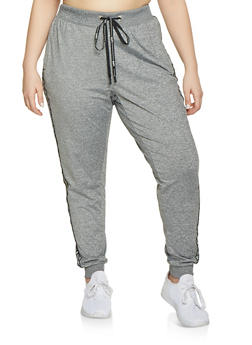 Plus Size Marled Love Tape Sweatpants - 1951051064052