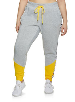 Plus Size Love Always Wins Tape Joggers - 1951051064055