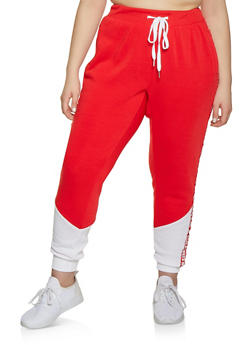 c7980d31093 Plus Size Love Always Wins Tape Joggers - 1951051064055