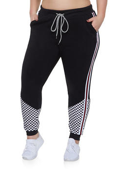 386e603307b Plus Size Checkered Detail Striped Tape Sweatpants - 1951051064063