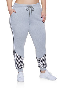 Plus Size Checkered Detail Striped Tape Sweatpants - 1951051064063