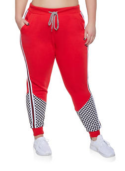 Plus Size Checkered Detail Striped Tape Sweatpants - 1951051064063