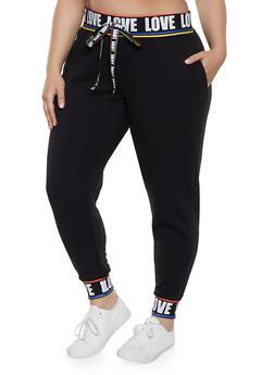 Plus Size Love Rib Knit Trim Sweatpants - 1951051064068